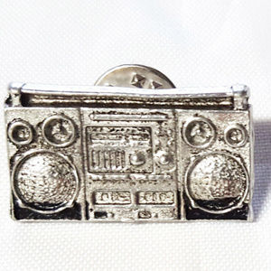 Pewter Cast Boombox lapel pin. approximately 1 in